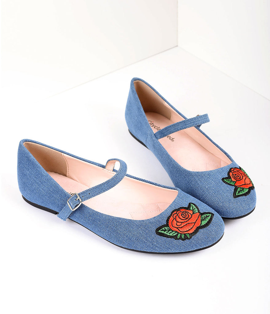 Retro Style Blue Denim & Embroidered Red Rose Mary Jane Flats