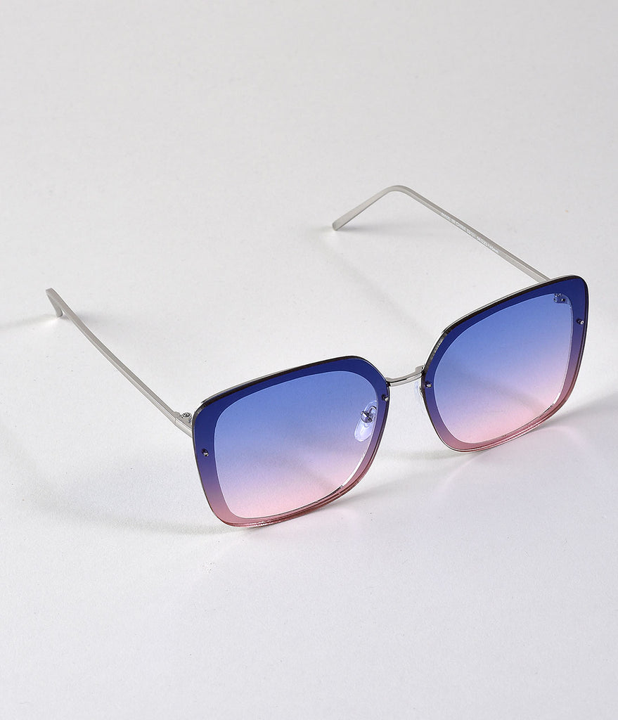 Retro Style Blue & Pink Gradient Square Glider Sunglasses