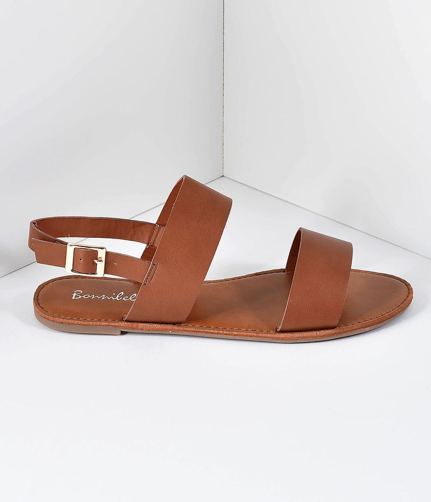 Retro Style Brown Leatherette Sandal