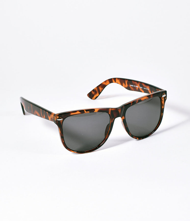 Retro Style Brown Tortoise Square Big W Mens Sunglasses