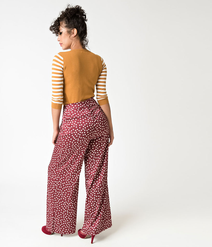 Retro Style Burgundy & Ivory Polka Dot Wide Leg Satin Pants