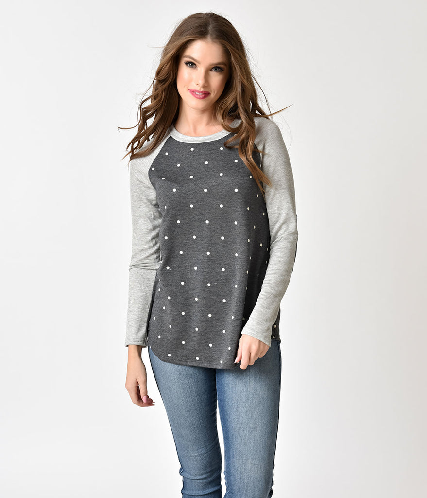 Retro Style Charcoal & Heather Grey with Ivory Polka Dots Raglan Sleeve Top