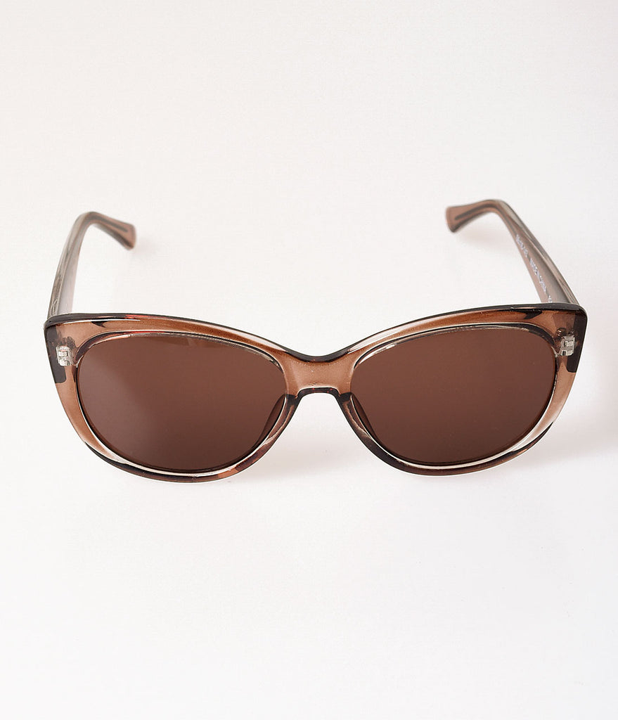 Retro Style Clear Brown Girlie Cat Eye Sunglasses