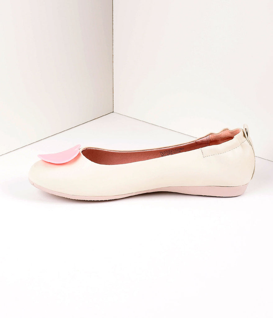 Retro Style Cream Leatherette & Light Pink Heart Ballet Flats