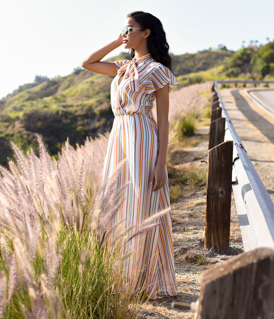 Retro Style Cream & Multi Stripe Cap Sleeve Maxi Dress