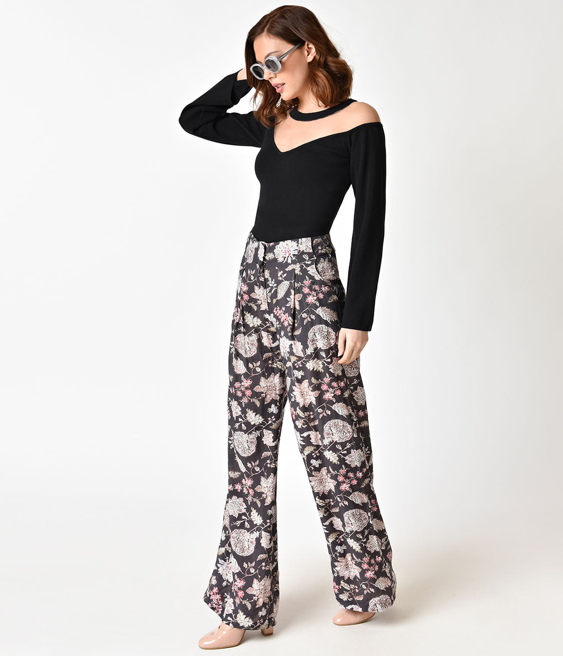 Vintage High Waisted Trousers, Sailor Pants, Jeans Retro Style Dark Brown  Floral Print Wide Leg Pants $43.00 AT vintagedancer.com