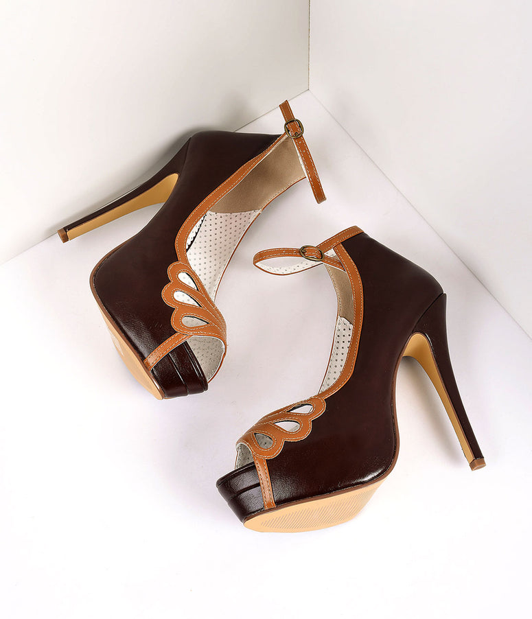 Retro Style Dark Brown & Maple Leatherette Peep Toe Platform Cutout Pumps