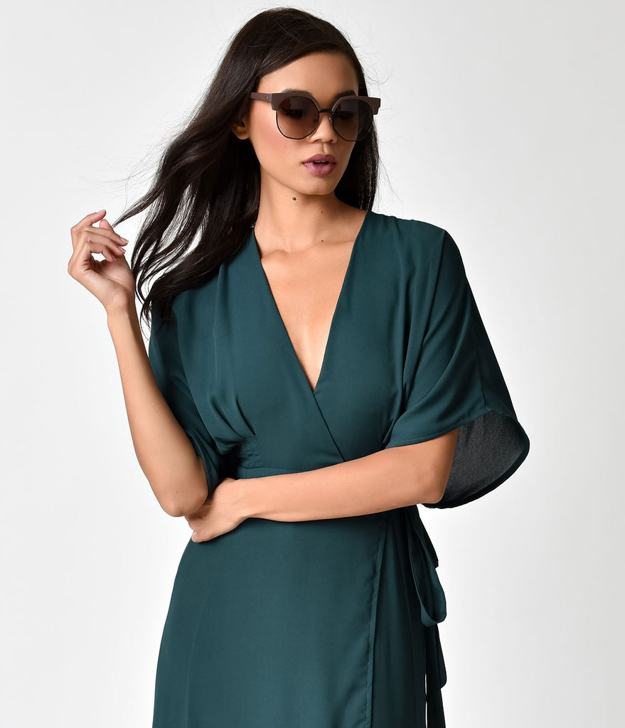 Retro Style Emerald Green Half Sleeved Maxi Wrap Dress