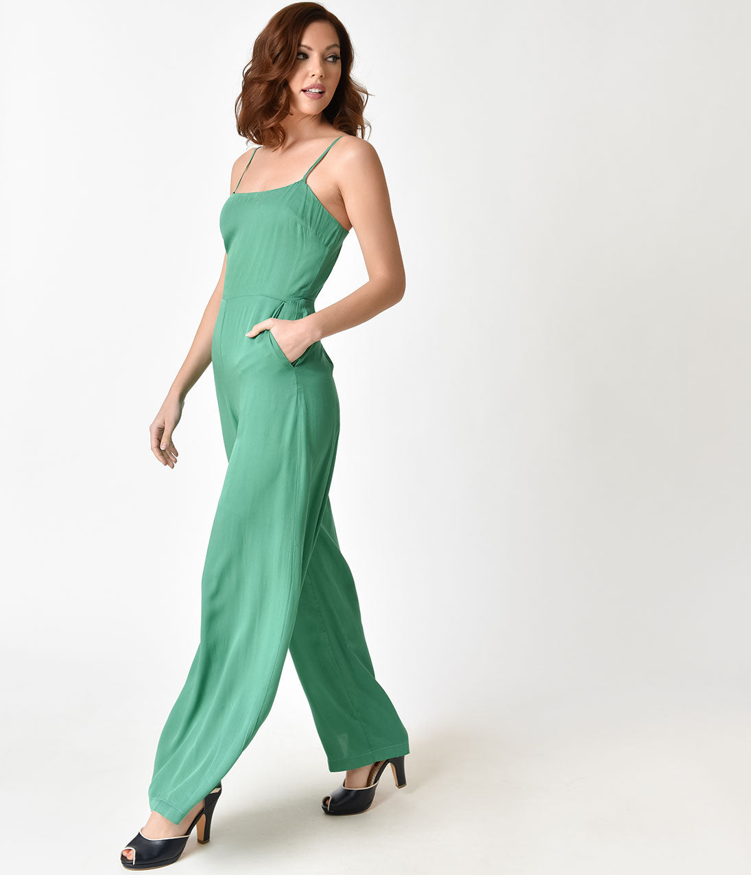 Vintage High Waisted Trousers, Sailor Pants, Jeans Retro Style Emerald Green Sleeveless Wide Leg Jumpsuit $46.00 AT vintagedancer.com