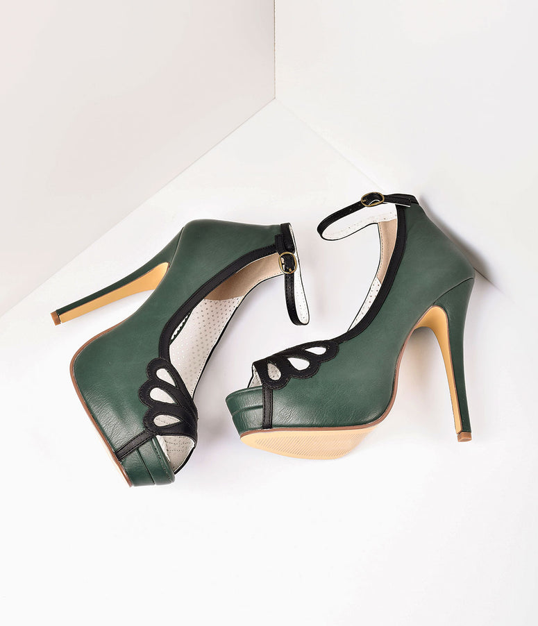 8aa7e4f4a916 Retro Style Forest Green   Black Leatherette Peep Toe Platform Cutout Pumps