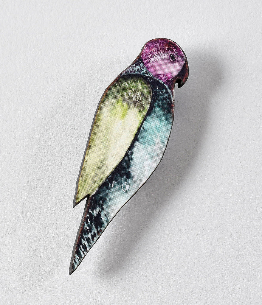 Retro Style Green & Pink Illustrated Wood Parrot Brooch