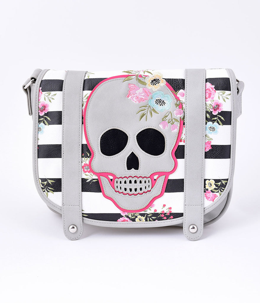 Retro Style Grey Skull Leatherette Stripe & Floral Saddle Purse