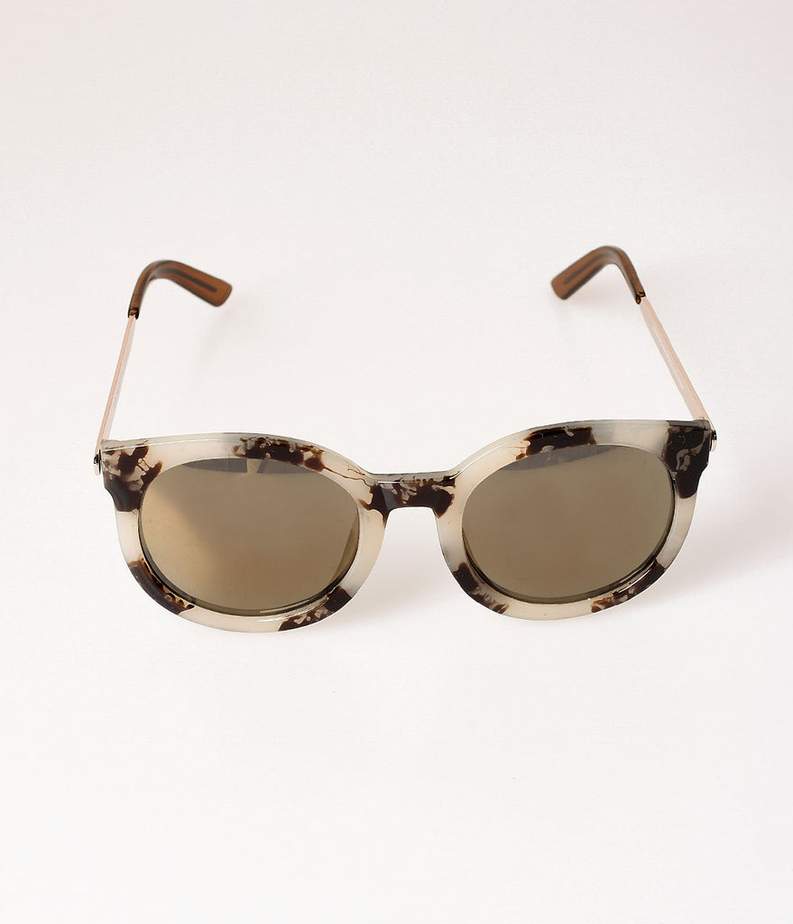Retro Style Grey Tortoise Shell Cat Du Round Sunglasses