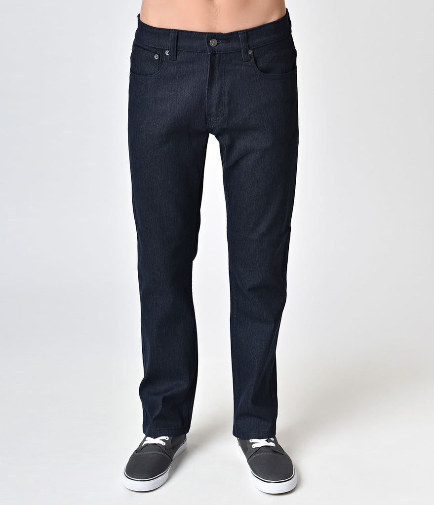 Retro Style Indigo Navy Denim Mens Jeans