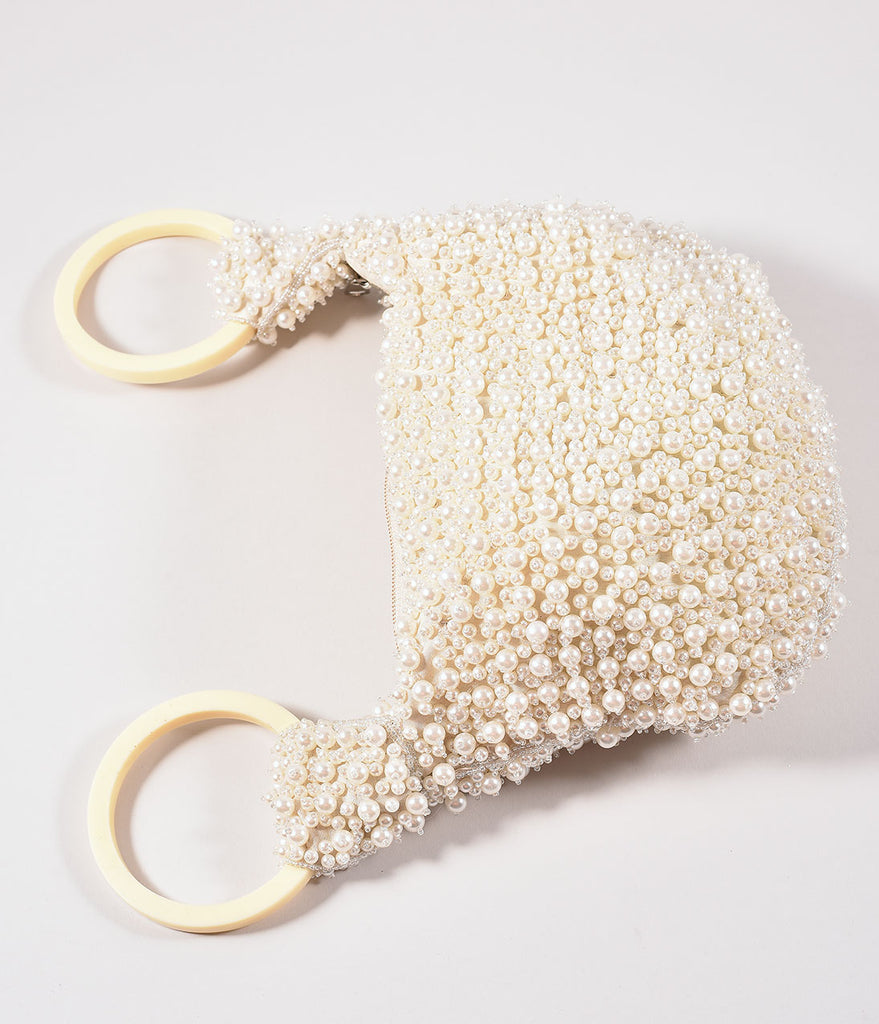 Retro Style Ivory Pearl Beaded Satchel Bag