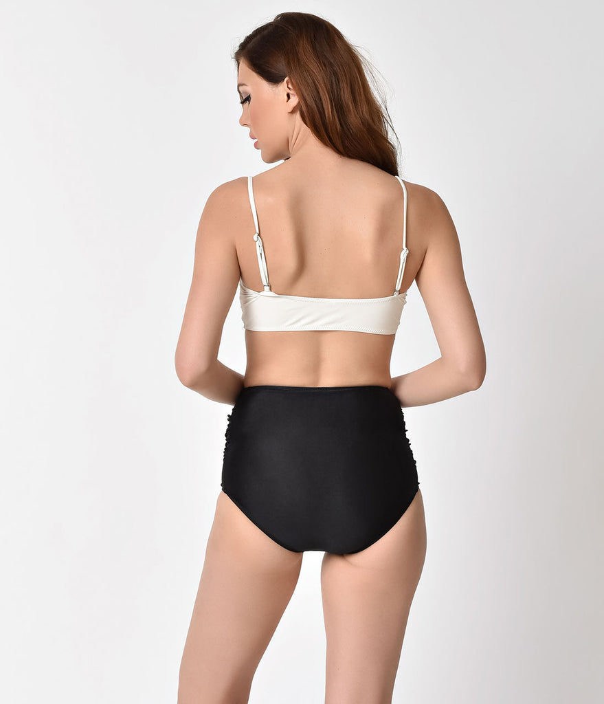 Retro Style Ivory Ruffle Bandeau & Black Mid-Rise Two Piece Swimsuit