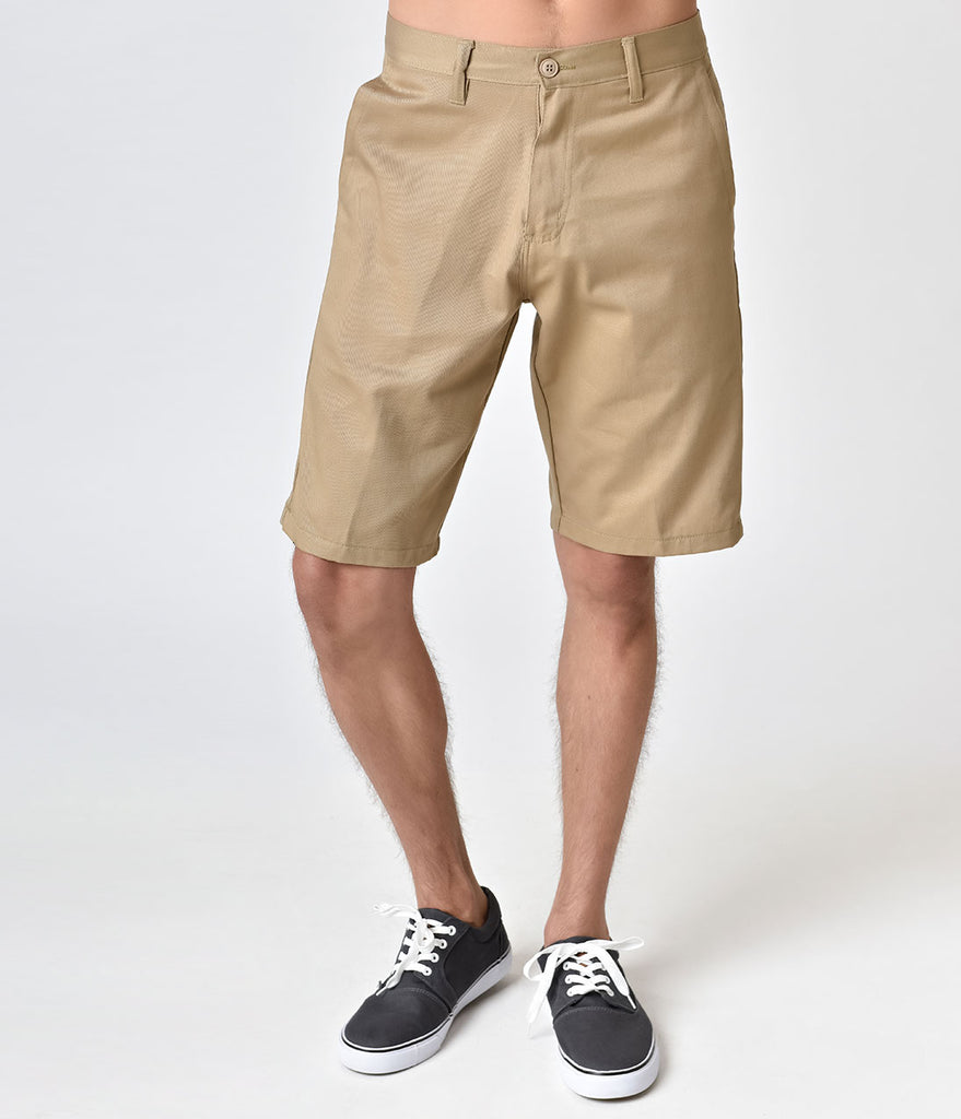 Retro Style Khaki Chino Mens Shorts