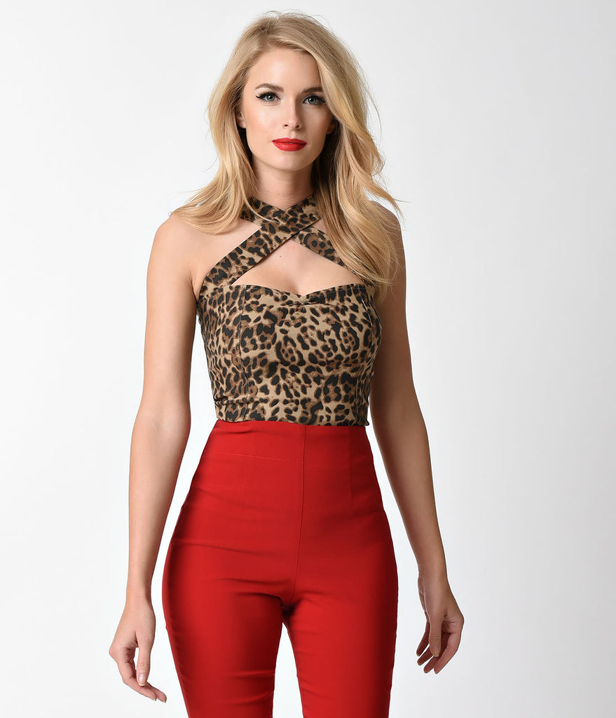 Retro Style Leopard Halter Cross Neck Stretch Top