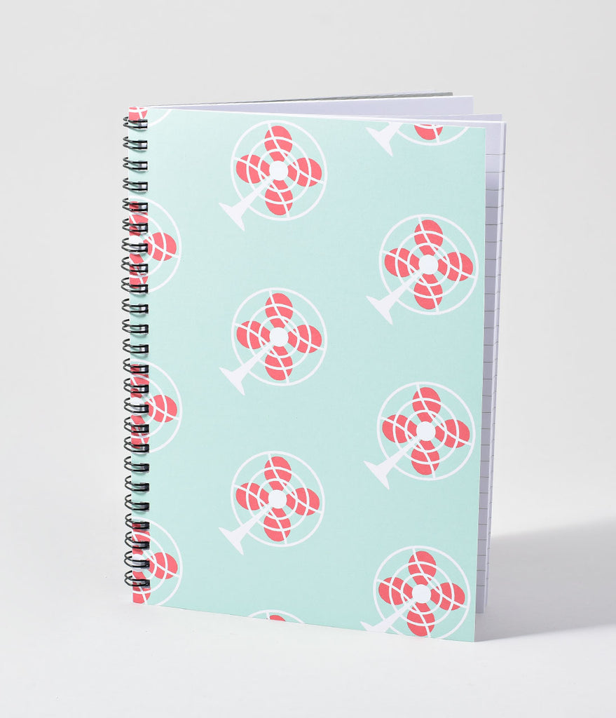 Retro Style Light Blue Metal Fan Spiral Notebook