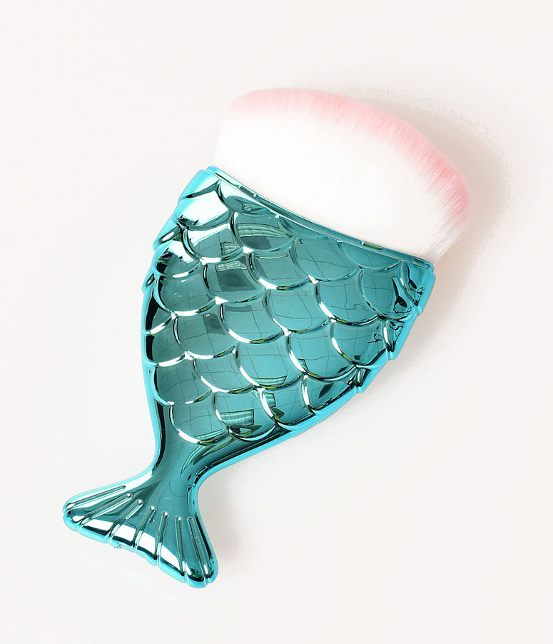 SauceBox Retro Style Metallic Teal Fish Tail Vanity Makeup Brush
