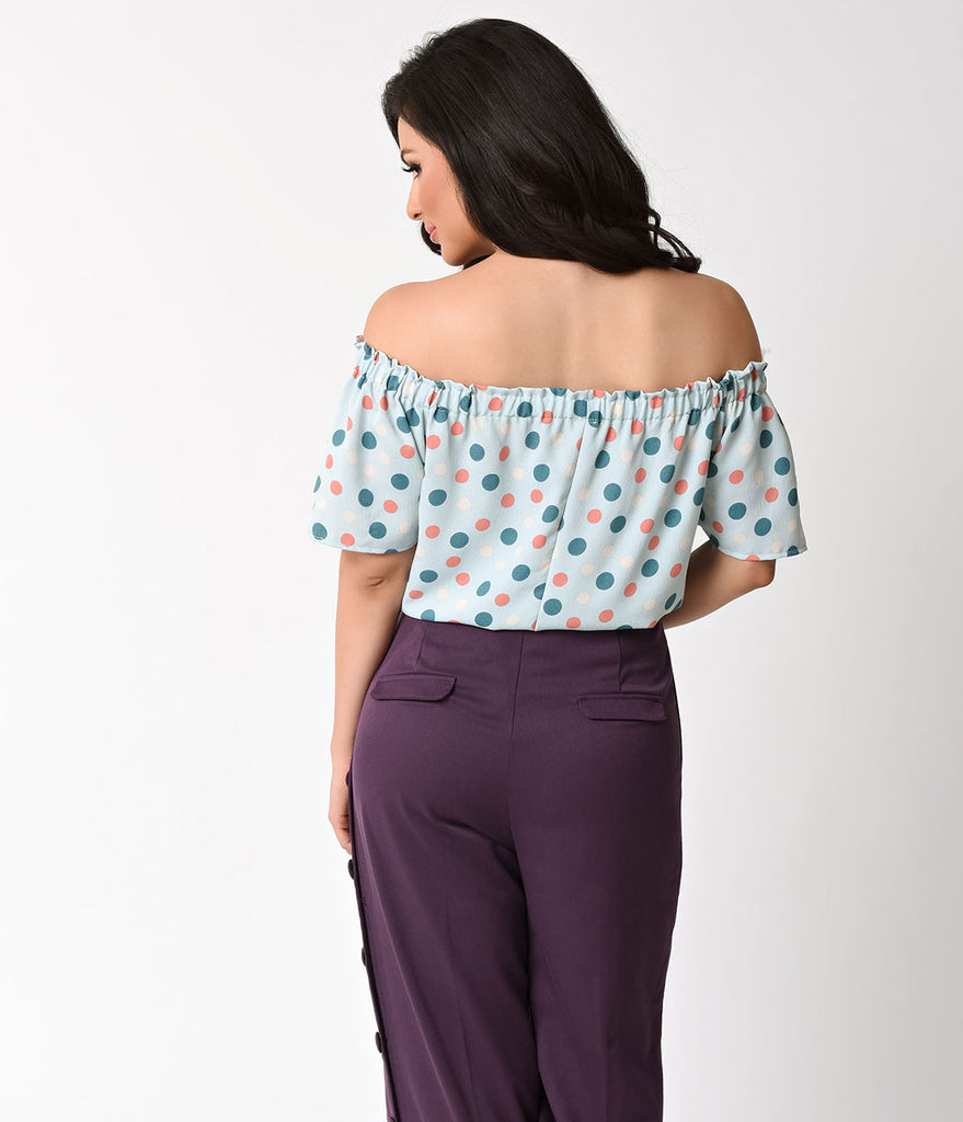 Retro Style Mint & Polka Dot Off The Shoulder Knit Top