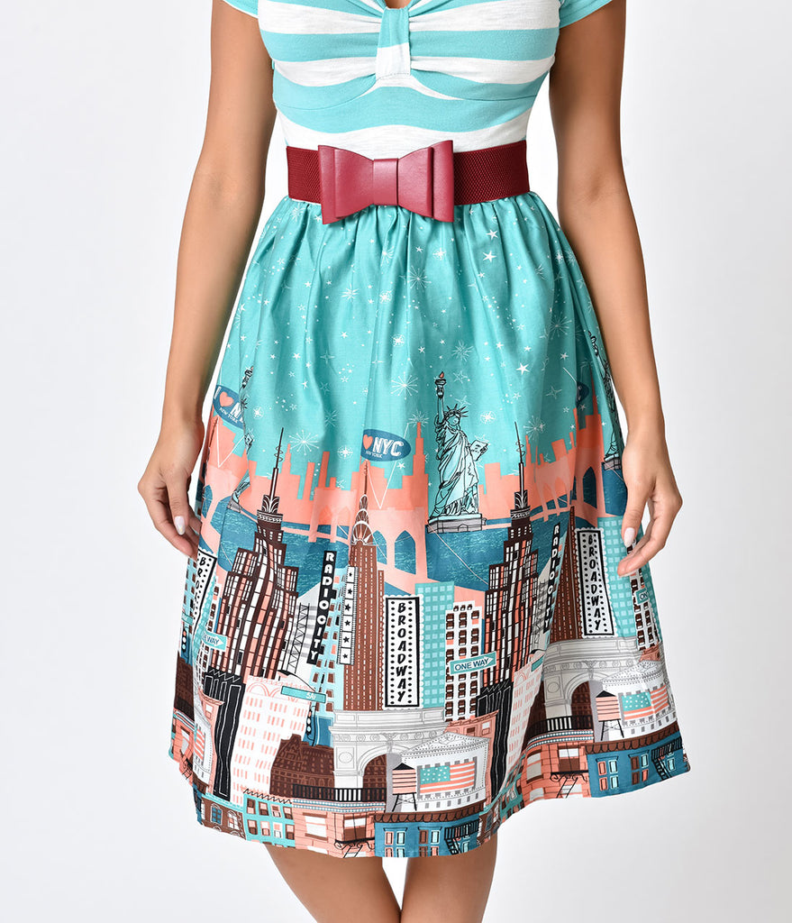 Retro Style Mint Stripe New York Horizon Cotton Swing Dress