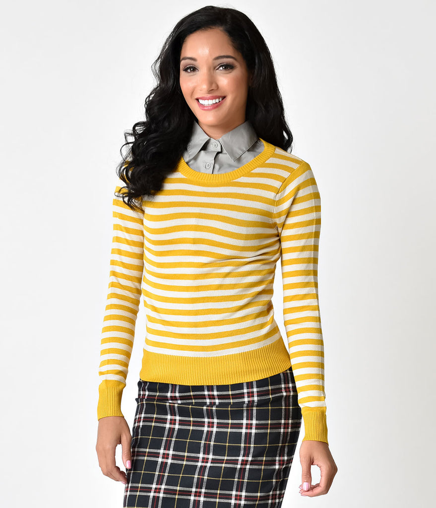 Retro Style Mustard & White Stripe Long Sleeve Knit Sweater Top