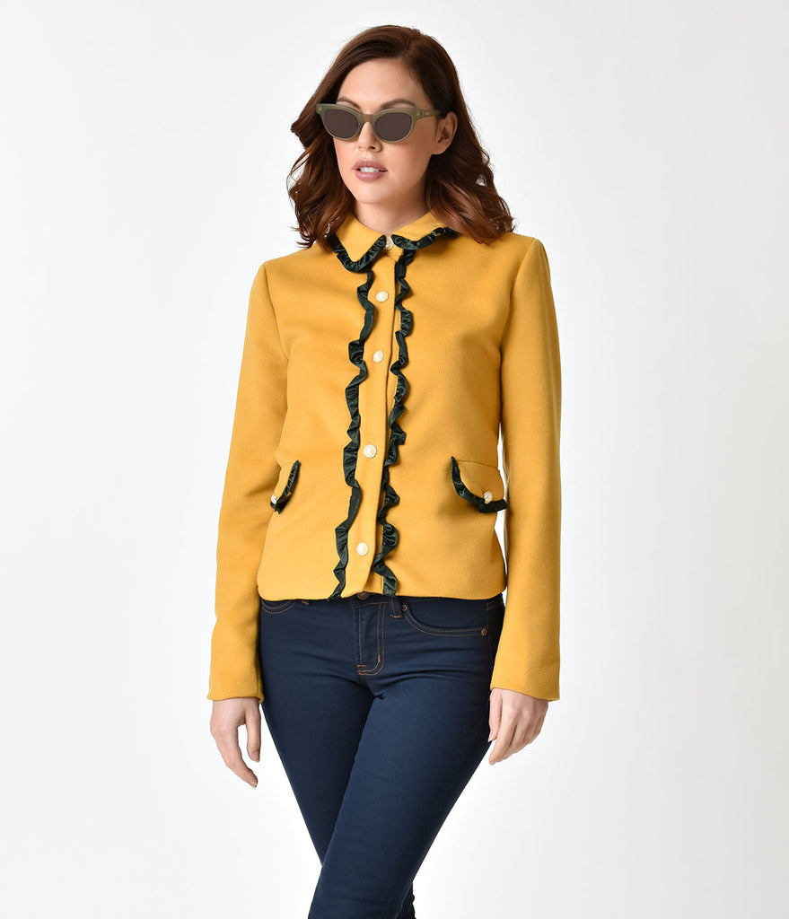 Retro Style Mustard Yellow & Faux Pearl Detailed Jacket Top