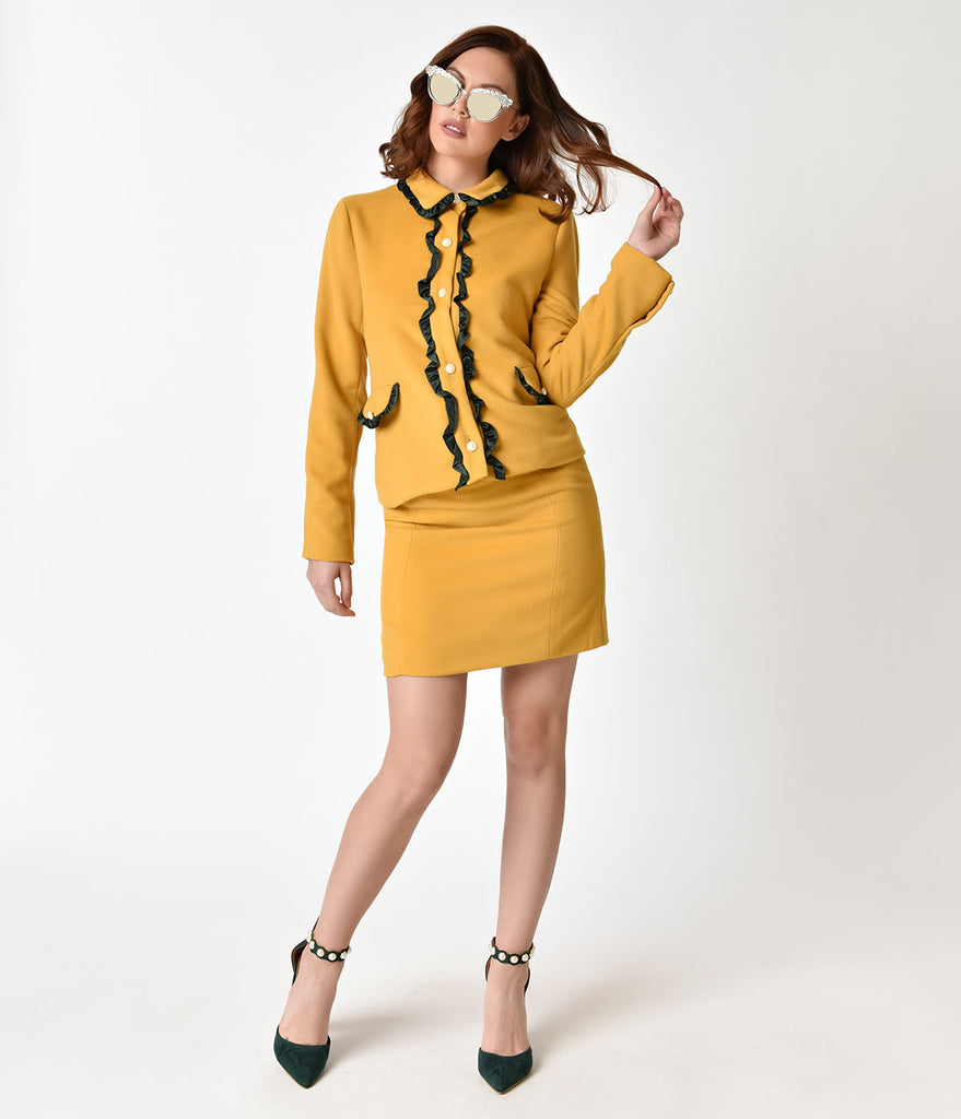 Retro Style Mustard Yellow & Faux Pearl Detailed Skirt