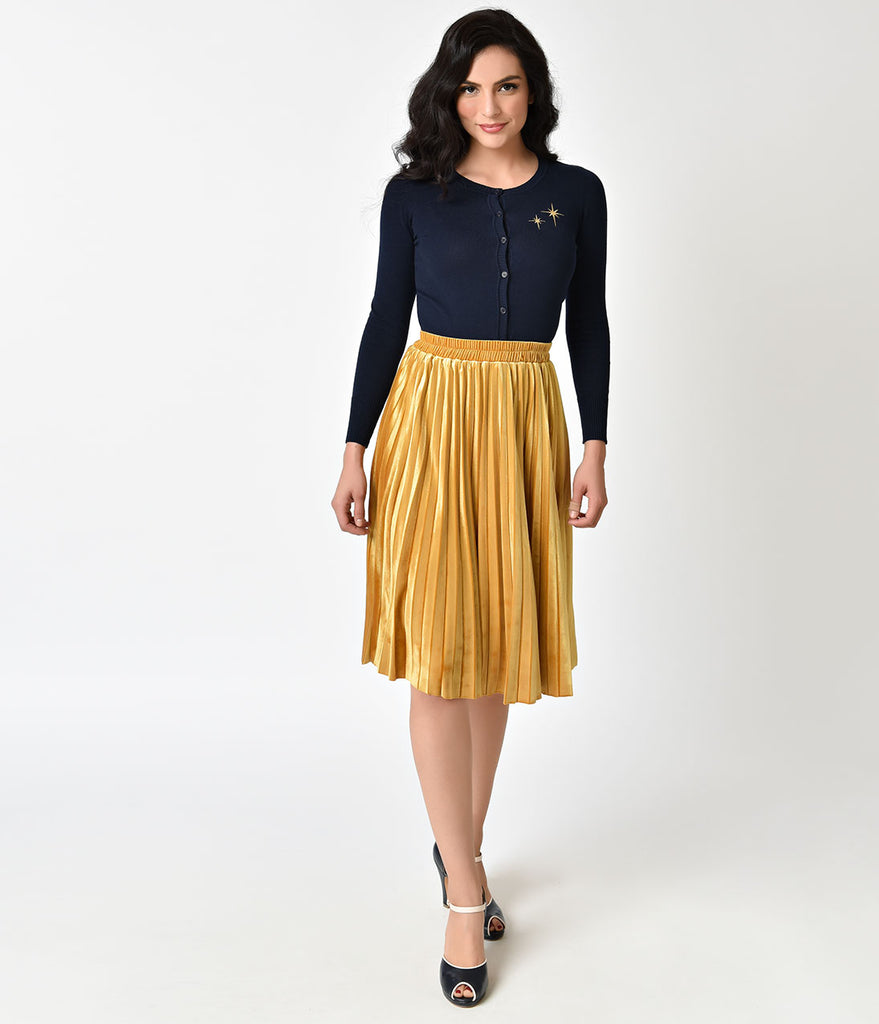 Retro Style Mustard Yellow Velvet Pleated Midi Skirt ...