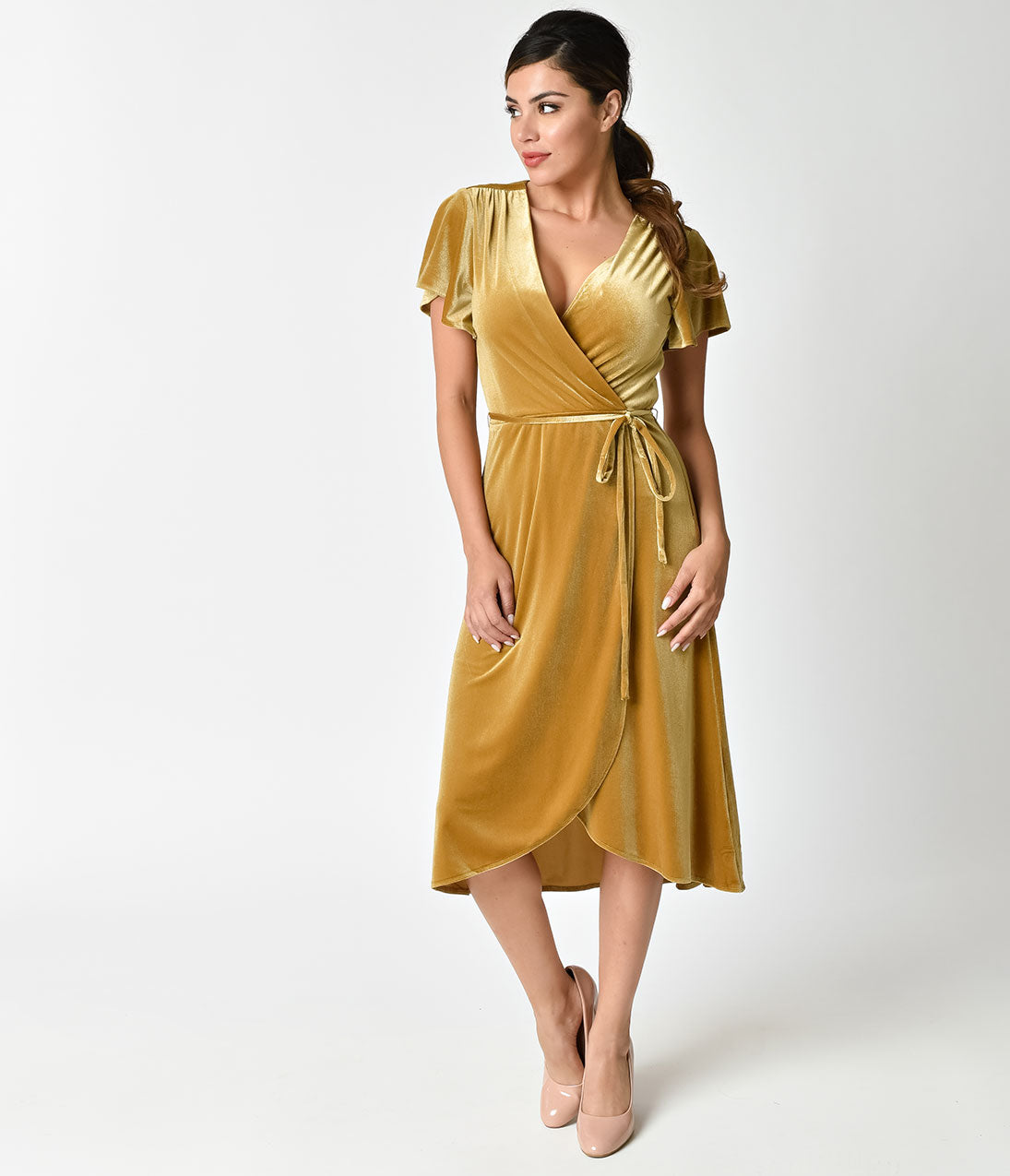 1940s Evening, Prom, Party, Cocktail Dresses & Ball Gowns Retro Style Mustard Yellow Velvet Wrap Dress $72.00 AT vintagedancer.com