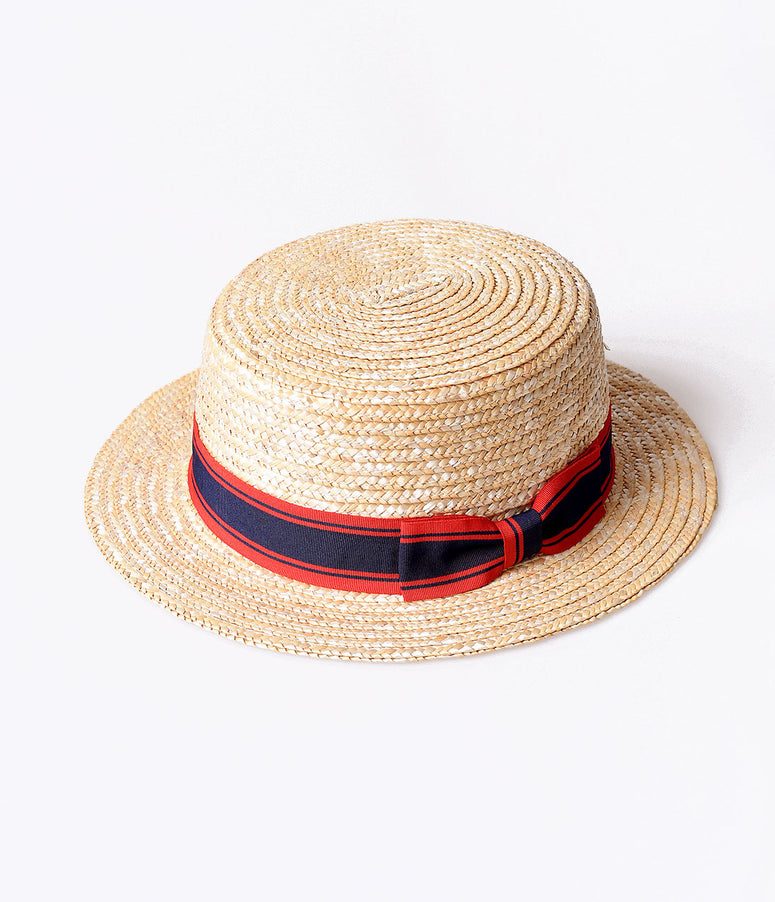 Retro Style Nautical Straw & Striped Ribbon Boater Hat