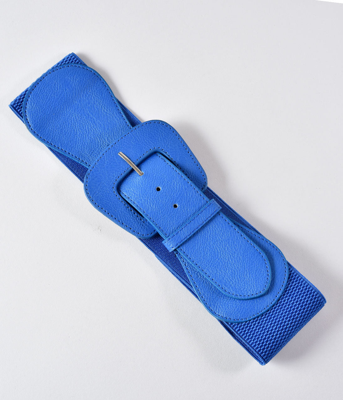 Vintage Scarf Styles -1920s to 1960s Retro Style Blue Leatherette Wide Elastic Cinch Belt $14.00 AT vintagedancer.com