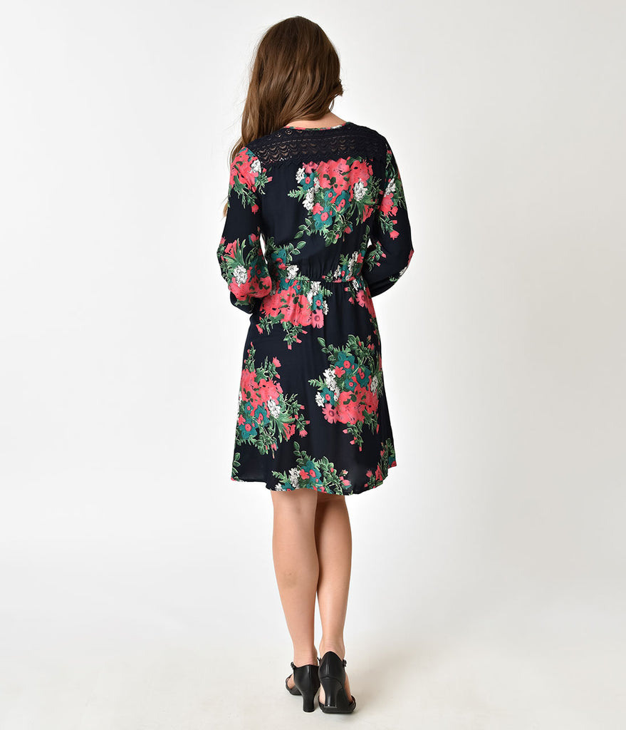 Retro Style Navy Blue & Pink Midnight Floral Wrap Dress