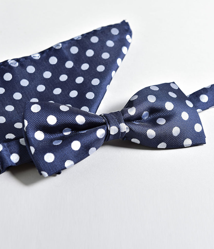 Retro Style Navy & Ivory Polka Dot Bow Tie & Pocket Square