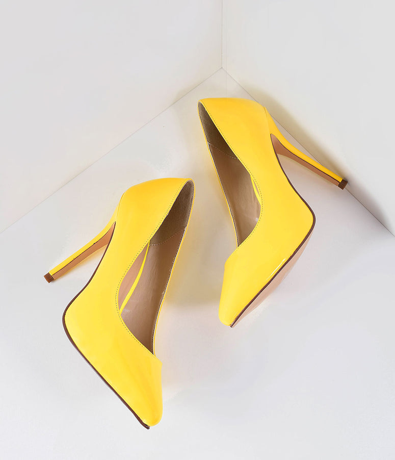 Retro Style Neon Yellow Patent Leather Amuse Pumps