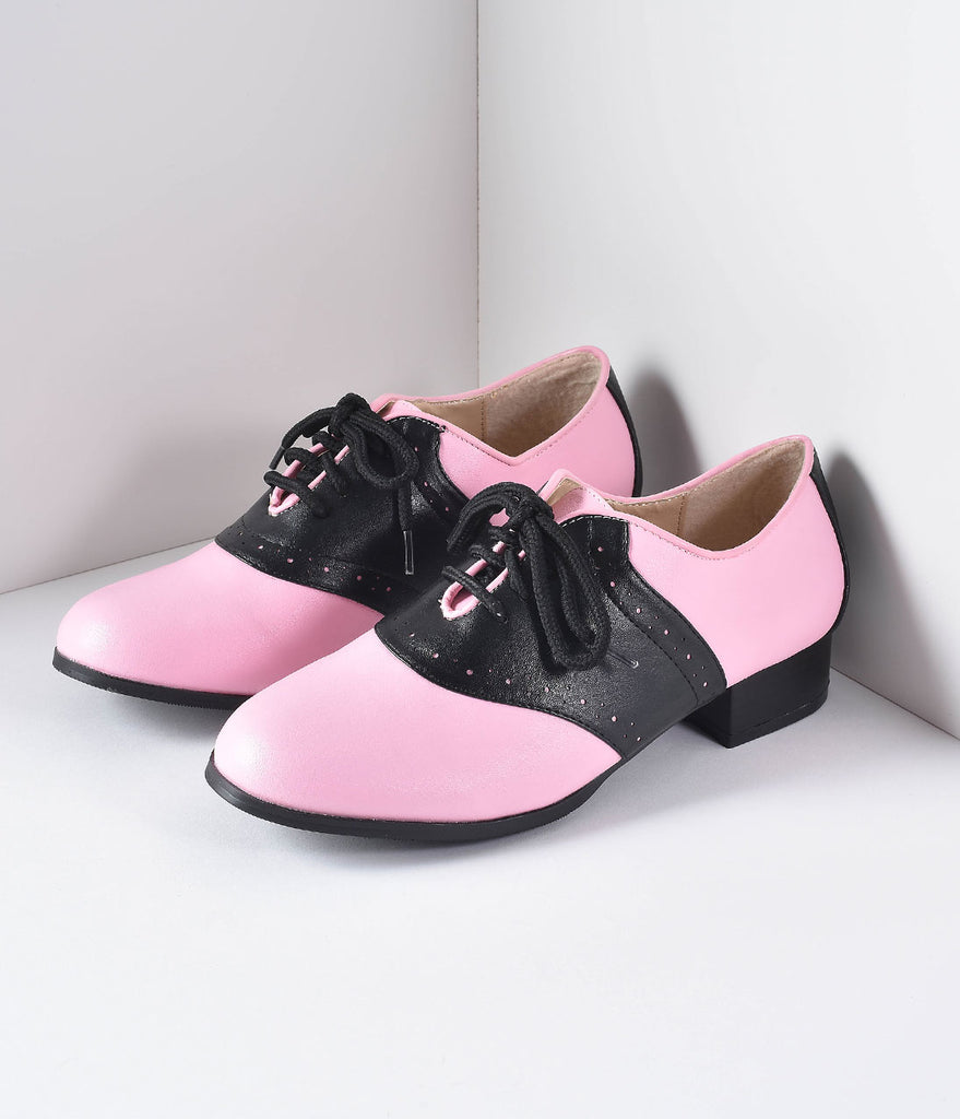 Retro Style Pink & Black Two Tone Saddle Shoes
