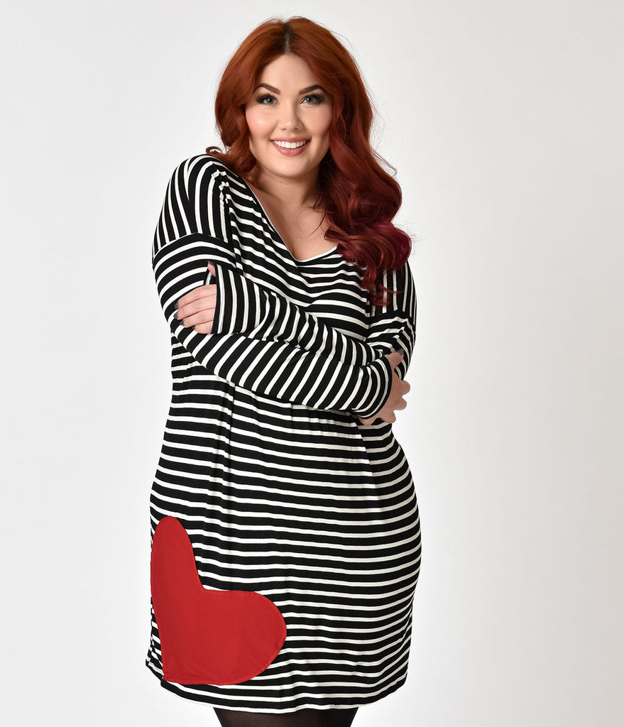 Retro Style Plus Size Black White Striped With Red Heart Patch