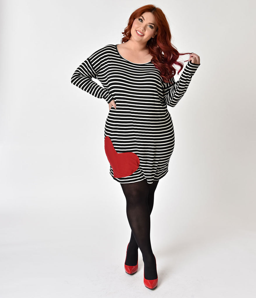 0de8fe87954 ... Retro Style Plus Size White   Black Striped with Red Heart Patch Shift  Dress
