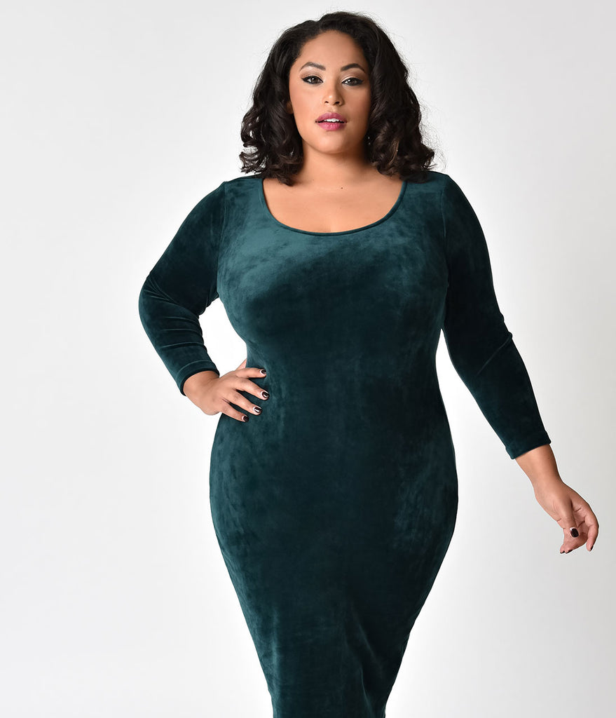 ca6fd0678b7f Retro Style Plus Size Green Velvet Long Sleeve Wiggle Dress – Unique ...