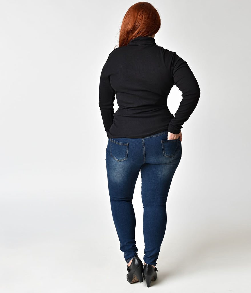 Retro Style Plus Size Light Wash Denim Jeggings