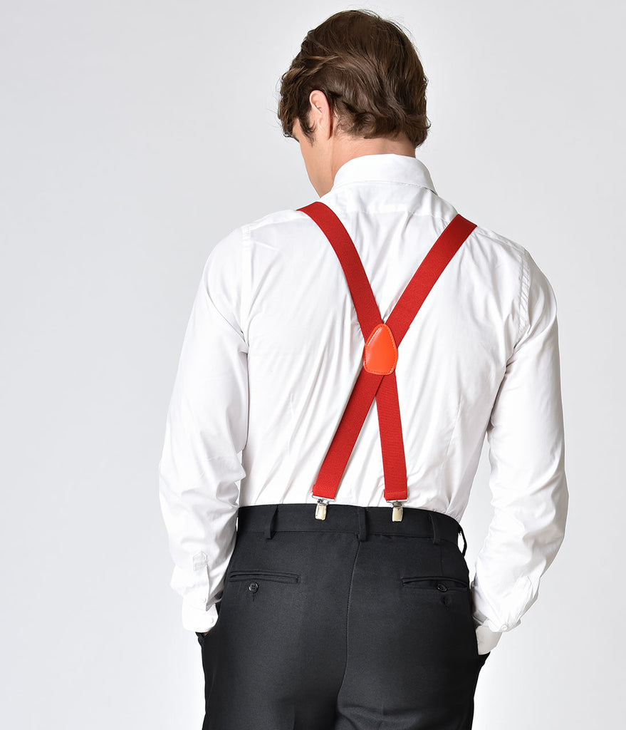 Retro Style Red Adjustable Suspenders