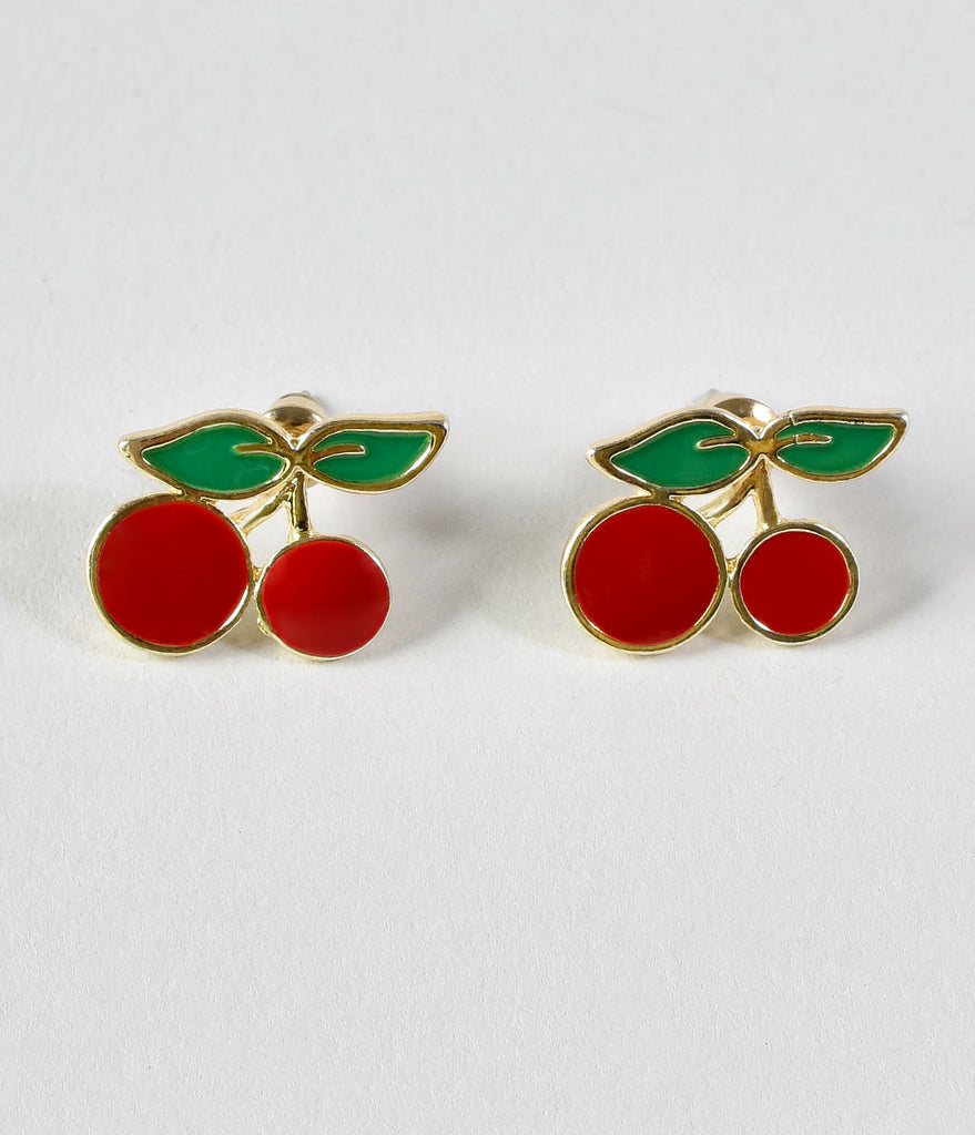 Retro Style Red Cherry Post Earrings
