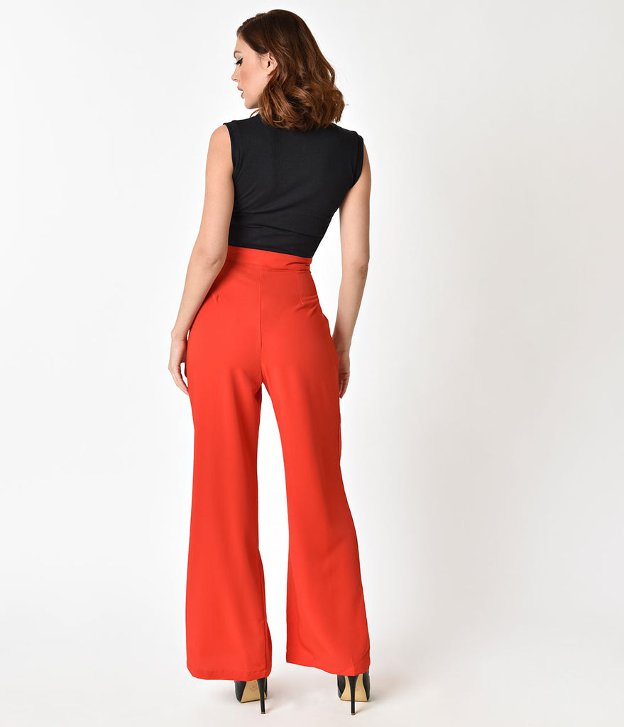 Retro Style Red High Waist Wide Leg Pants