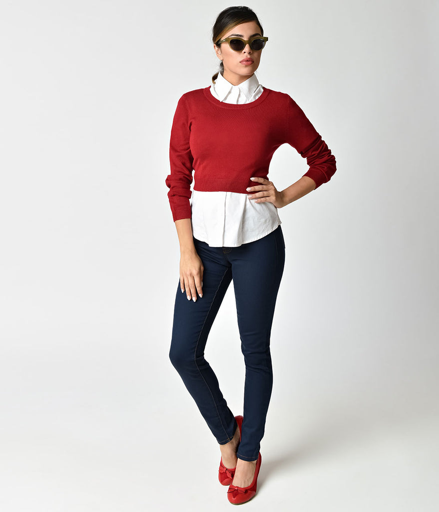 Retro Style Red Long Sleeve Cropped Knit Sweater