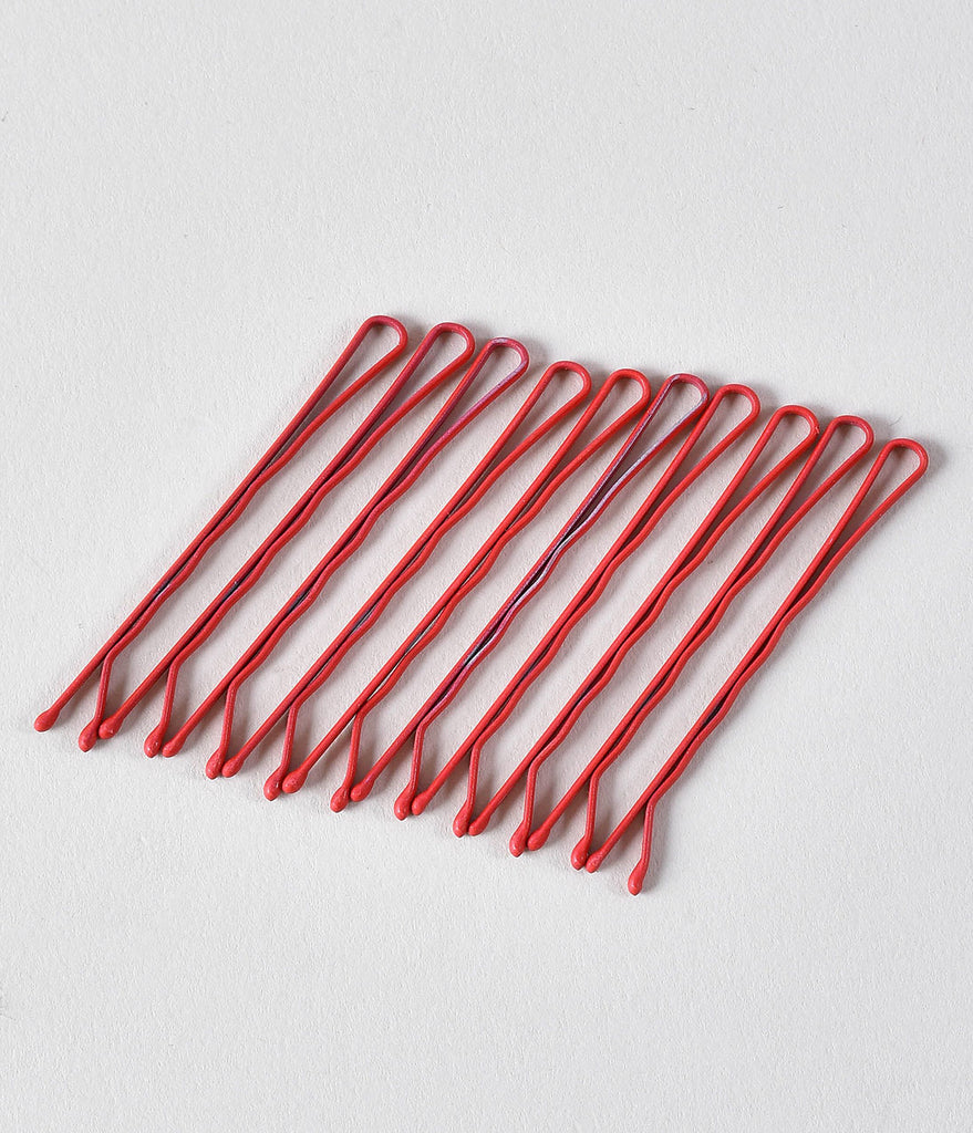 Retro Style Red Matte Bobby Pins