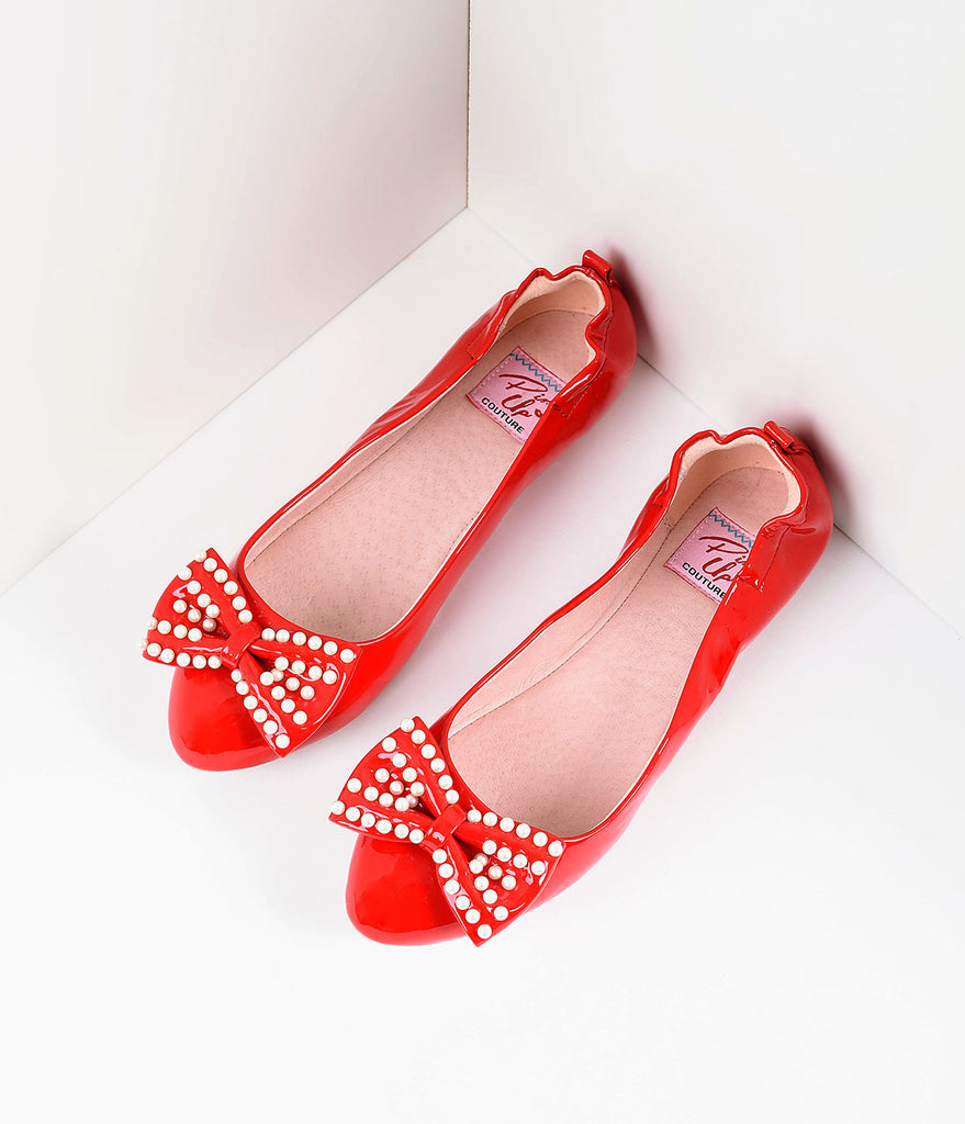 Retro Style Red Patent Leather Pearl Bow Ballet Flats