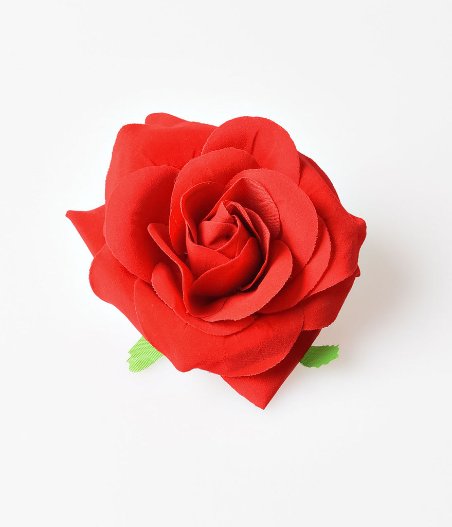 Retro Style Red Rose Flower Hair Clip