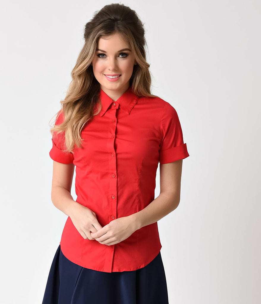 Retro Style Red Short Sleeve Collared Button Up Blouse