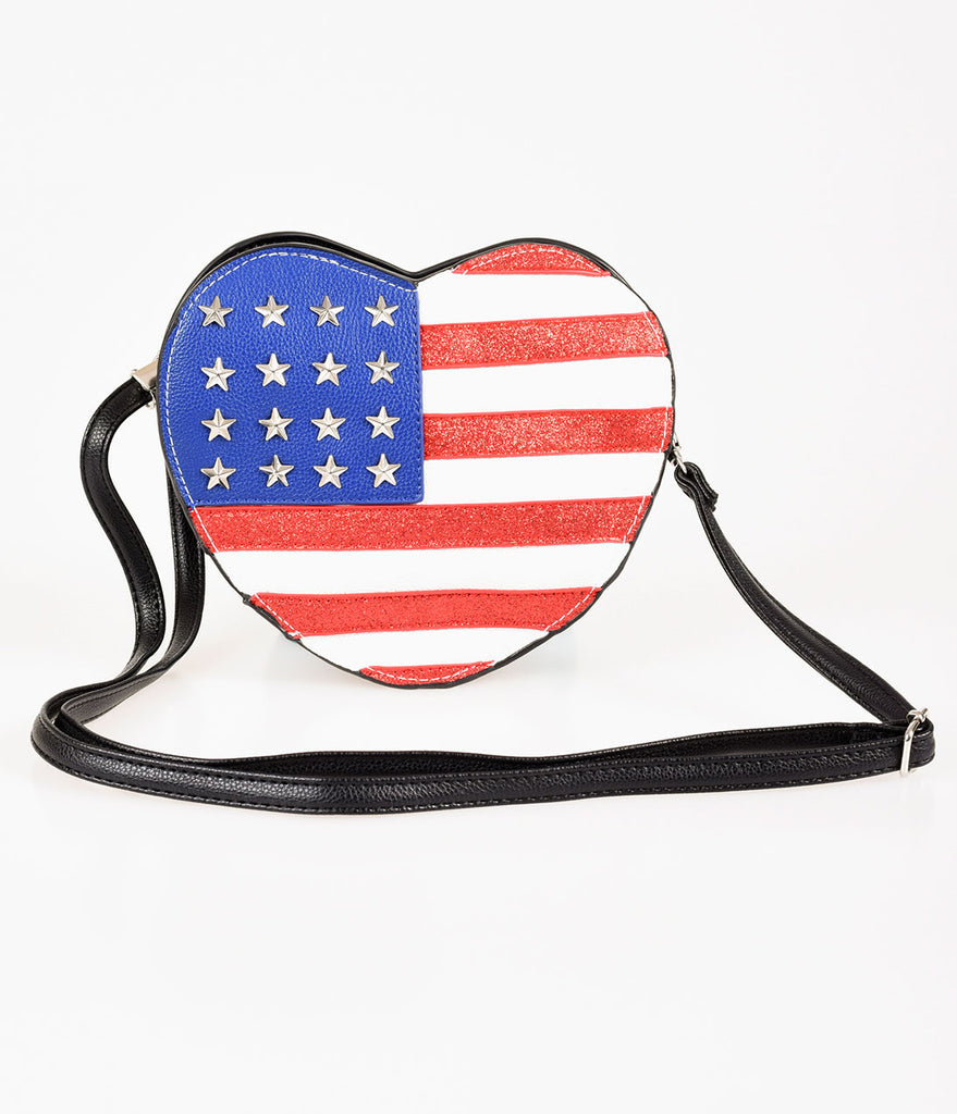 Retro Style Red, White, & Blue American Flag Heart Crossbody